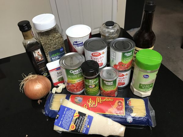 Sharlene's Homemade Spaghetti Sauce ingredients
